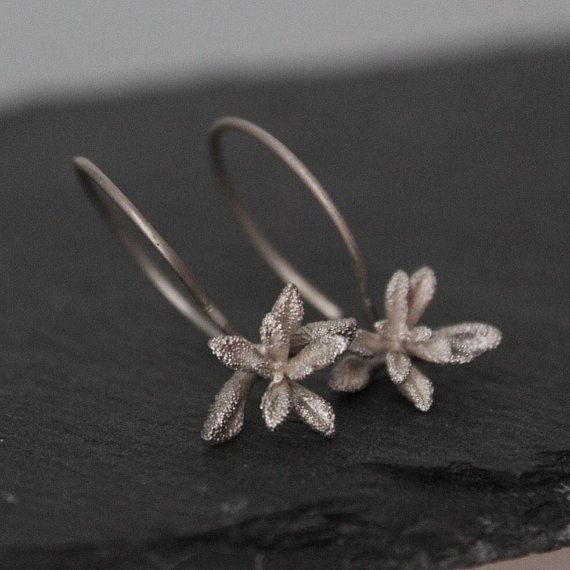Succulent earrings -Sterling silver dangle earrings -Succulent jewelry -Flower earrings -Nature earrings -Gift for mom-Botanical jewelry