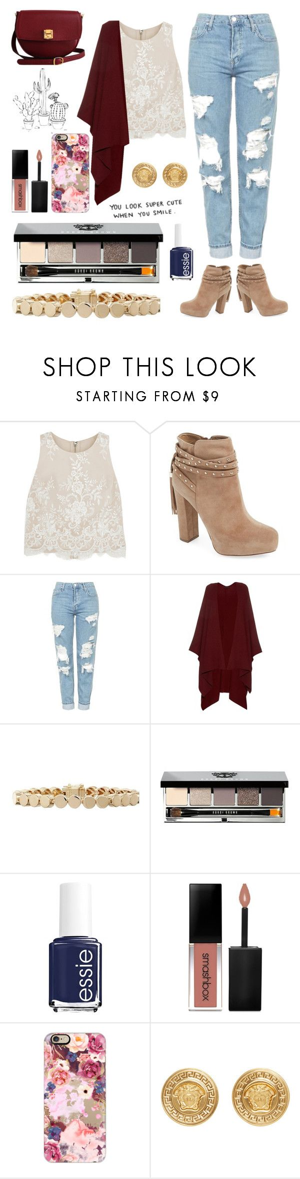 """Lovin Smooth"" by ashleyk0214 on Polyvore featuring Alice + Olivia, Jessica Simpson, Topshop, The Row, Eddie Borgo, Bobbi Brown Cosmetics, Essie, Smashbox, Casetify and Versace"