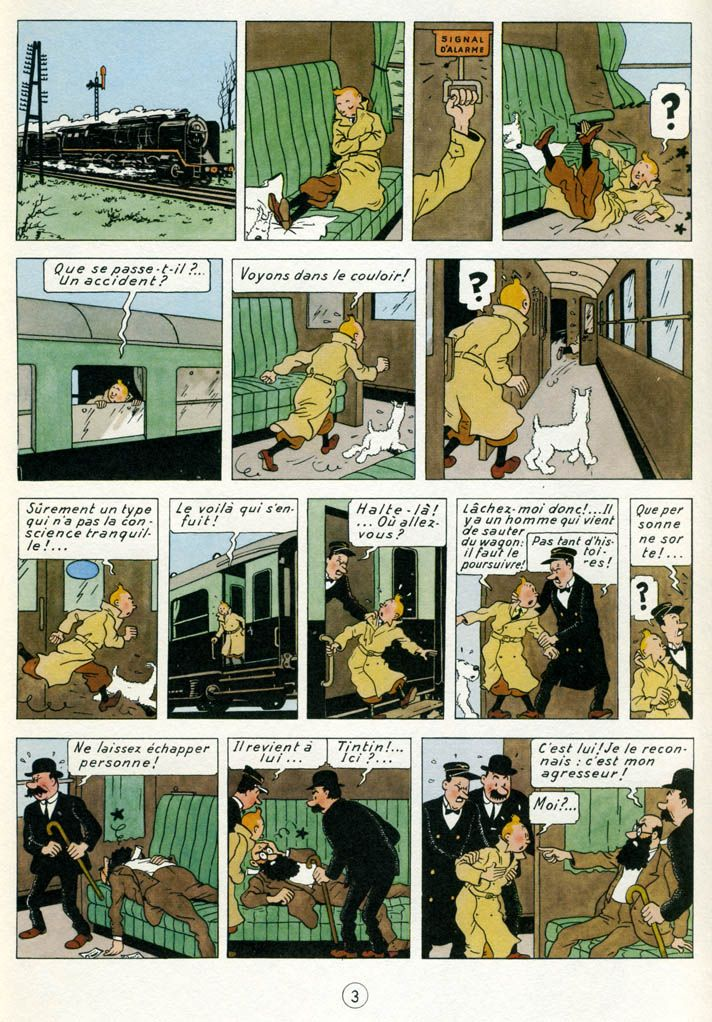 "Hergé: ""The Black Island"", 1943 version. The book was revised in 1965 after complaints from the British publisher that it visually didn't reflect realities  in Scotland."