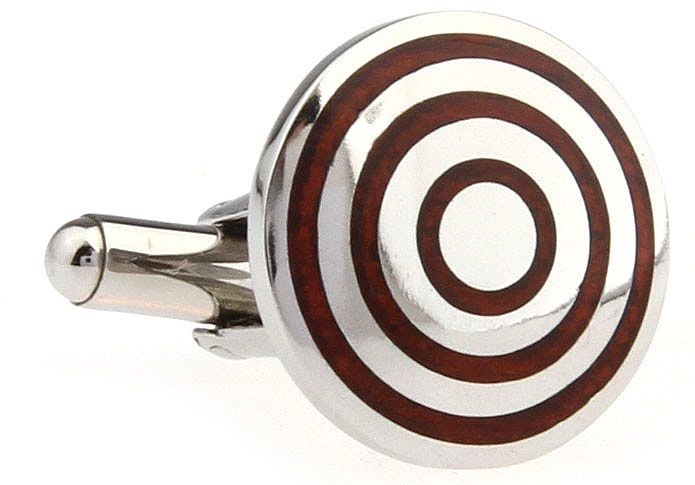 These premium cufflinks feature concentric circles of stainless steel and polished rosewood. Not for the faint-hearted, these cufflinks command attention. Don't wear these if you want to blend in to the crowd, but, if you want to get noticed, these are the cufflinks for you.