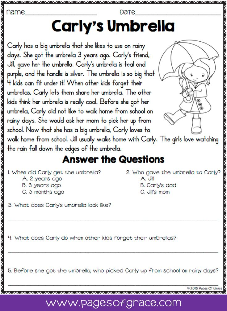 Reading Comprehension Passages and Questions for April ...