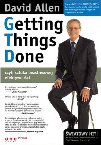 Getting Things Done, czyli sztuka bezstresowej efektywności / David Allen   Program Getting Things Done (GTD) powstał właśnie po to, byś mógł wreszcie zwolnić tempo, zrezygnować z przytłaczających obowiązków i uwolnić się od wiecznej presji zegarka. Jest to najbardziej spójny, intuicyjny i wydajny system racjonalizacji zadań, jaki istnieje w chwili obecnej na rynku. Wyobraź sobie, że w kilka tygodni osiągasz wewnętrzną równowagę, harmonię, a co za tym idzie, lepsze wyniki.