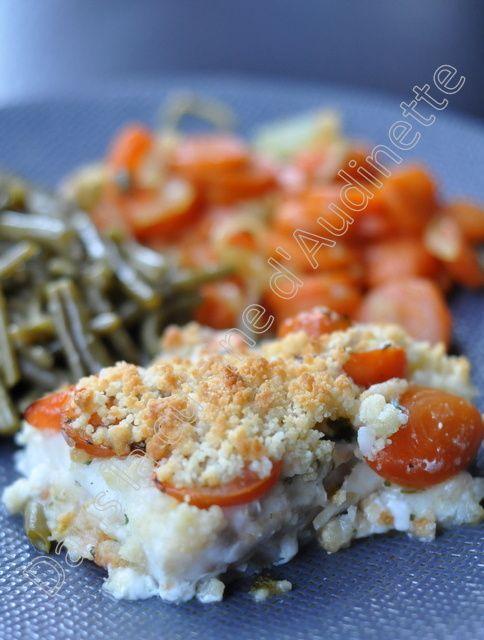 Dos de cabillaud aux tomates cerises et crumble de parmesan