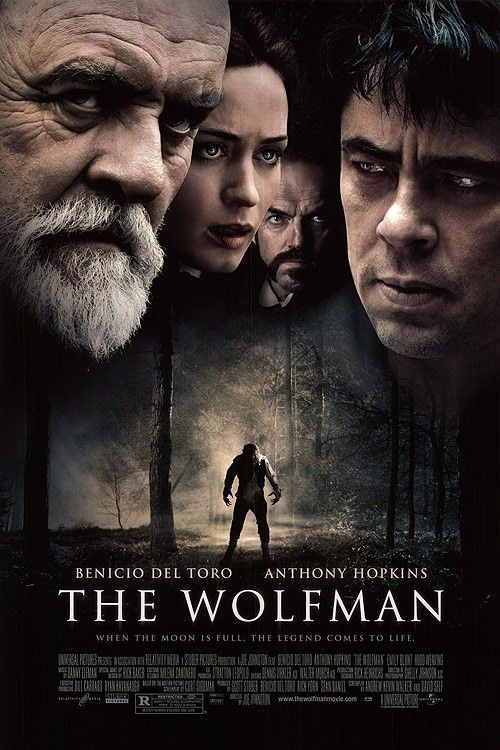 """The Wolfman"" (2010) - Upon his return to his ancestral homeland, an American man is bitten, and subsequently cursed by, a werewolf. With Benicio Del Toro and Anthony Hopkins. Image and info credit: IMDb."