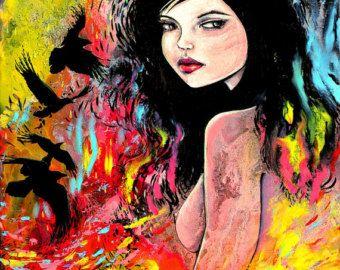 Abstract naakt print kleurrijke kunst door door SagittariusGallery