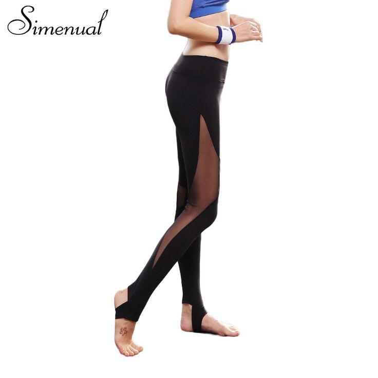 Simenual Step foot mesh splice leggings for women jeggings hollow out slim sexy legging athleisure fitness elastic long pants