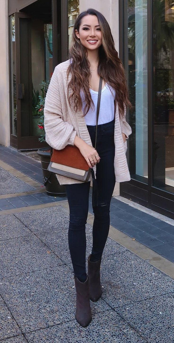 Cardigan | Top | Denim | Allsaints bag (similar here) | Booties (love these booties--but they are selling out quick!!)