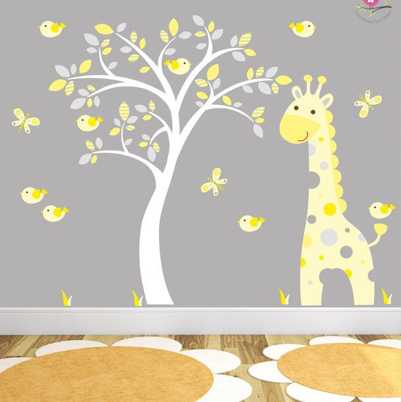 Jungle Decal, Yellow And Grey Nursery Decor Feat. Cheeky Monkey, A Giraffe,  A Baby Elephant A White Tree Mural. Part 66