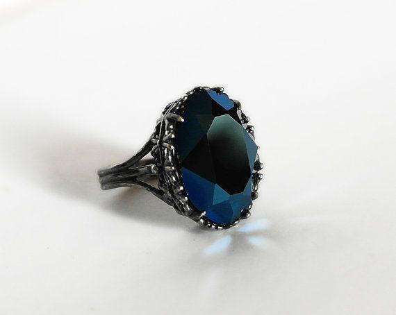 Blue Gothic Ring Swarovski Crystal Pewter Engagement by Aranwen, €42.84