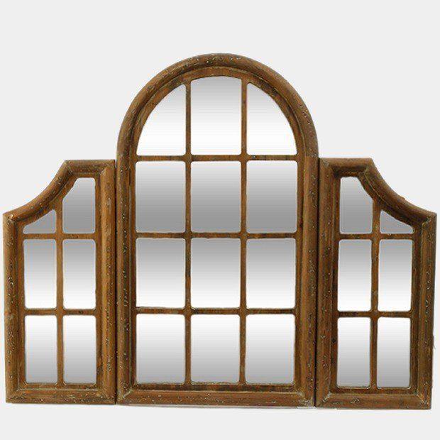 Tri Fold Windowpane Mirror Mirror Botanical Decor