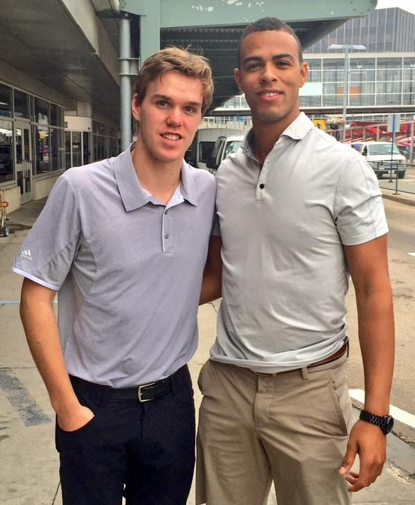 Look who we found at the airport, arriving for the ‪#‎Oilers‬ Orientation Camp! Connor McDavid and Darnell Nurse
