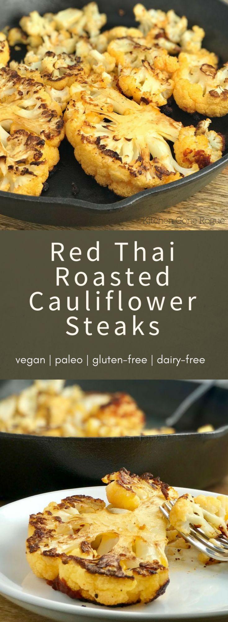 Red Thai Roasted Cauliflower Steaks Vegan Paleo Gluten Free