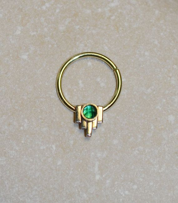 2mm Emerald SEPTUM RING // Gold Nose Ring - Septum Piercing - Septum Jewelry - Tragus Earring - Septum Hoop 20 gauge - Nose Piercing