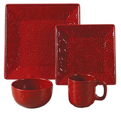 Savannah Dinnerware features a detailed raised relief tooled leather design in a high gloss finish of red, turquoise or mustard yellow. It will be the highlight of your rustic table setting. The easy care stoneware is dishwasher, oven and microwave safe. Add one of the many styles of chargers, faux leather placemats or table runners to complete your rustic dining table.  Matching service set & Canister set at Delectably-Yours.com  #DelectablyYours Southwestern Western Home Decor