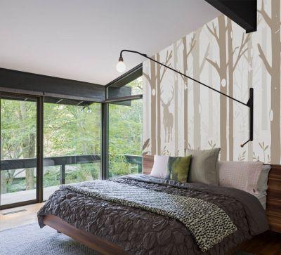 Fototapetul cerb printre copaci are un design delicat, potrivit pentru decorarea dormitorului tau.