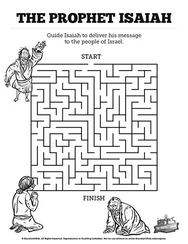 The Prophet Isaiah Bible Mazes: Can you lead the prophet Isaiah through every twist and turn of this printable Bible maze? Your children are going to have a blast with this colorful Sunday school activity page that makes a perfect compliment to your upcoming Prophet Isaiah kids Bible lesson.