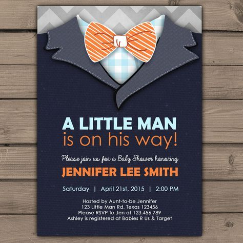 Little Man Baby Shower invite Baby Shower invitation Baby Boy on his way grey chevron Bow Tie Cute Stripes Blue orange Digital Printable DIY by Anietillustration on Etsy https://www.etsy.com/listing/225057428/little-man-baby-shower-invite-baby