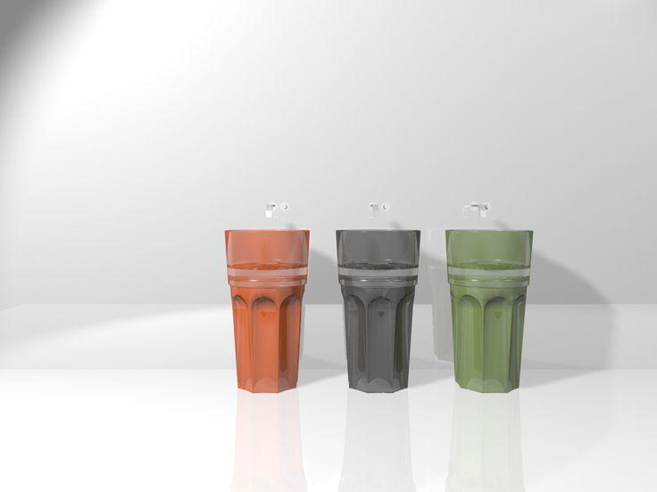 Regia. Lavabo freestanding Spritz in vetroghiaccio®. Disegnato da Bruna Rapisarda.