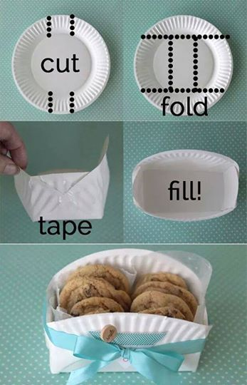 Fold a paper plate into a food carrier