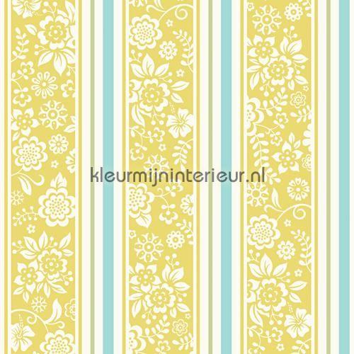 Bloemen tussen strepen behang JR 4103 uit de collectie Jack n Rose Junior  Hookedonwalls is verkrijgbaar bij kleurmijninterieur