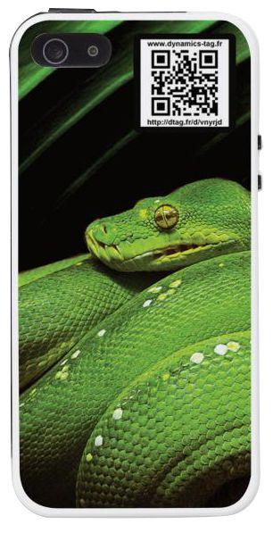 Coque de portable IPhone 5/5s associée à une carte de visite virtuelle via un qrcode : illustration : Python (serpent)
