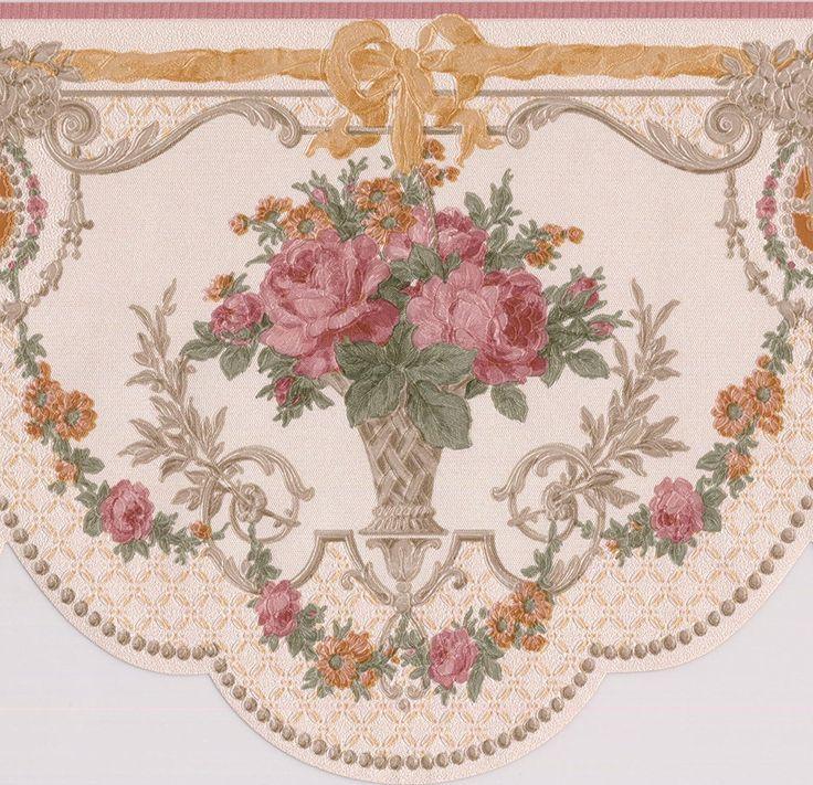 Pink Roses in Pots Vintage Floral Victorian Wallpaper Border Retro Design, Roll 15' x 6.5'' - - Amazon.com