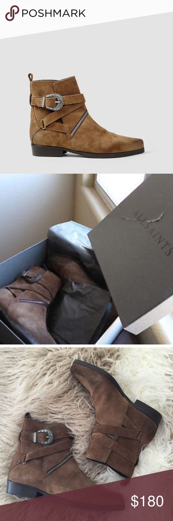 ALLSAINTS 'Tejus' Buckle Ankle Boot Gently worn, great condition. Allsaints genuine suede leather buckle ankle boot. Pointed toe, low chunk heel. Retail: $425 All Saints Shoes Ankle Boots & Booties