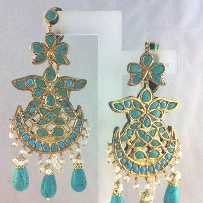 Turquoise Kundan and Pearl Earrings
