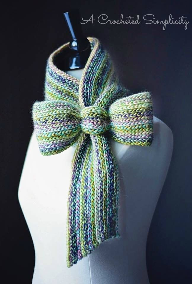 """Crochet Pattern: """"Knit-Look"""" Bow Tie Cowl / Scarf by A Crocheted Simplicity…"""