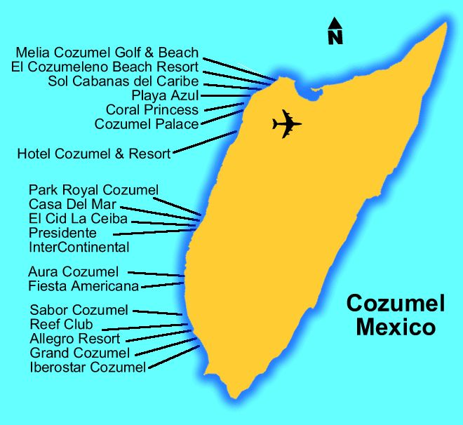 Map Of Cozumel And Some Resorts On The Island To Check