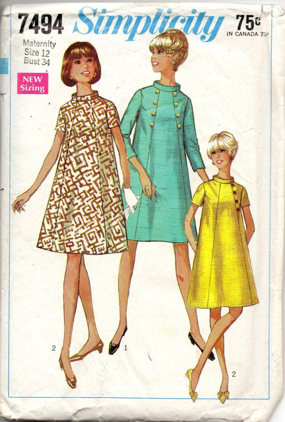 1960s Simplicity 7494 Mod Maternity Dress Pattern Front Seam Interest womens vintage sewing pattern  by mbchills