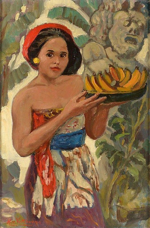 Henry van Velthuysen - Gadis Bali dengan pisang