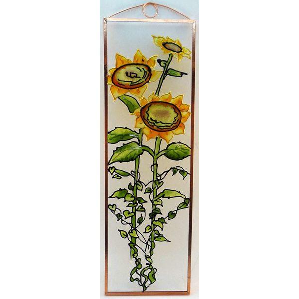 Napraforgó Grafika: Navratil Zsuzsa üvegre kivitelezte: Kőrösi Andrea Mérete: 7,5 cm x 23,5 cm