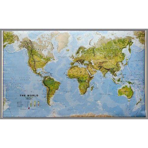 Świat mapa fizyczna z elementami środowiska 1:20 000 000 Maps International
