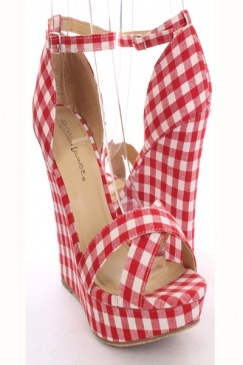 Red Plaid Fabric Faux Leather Cross Strap Platform Wedges