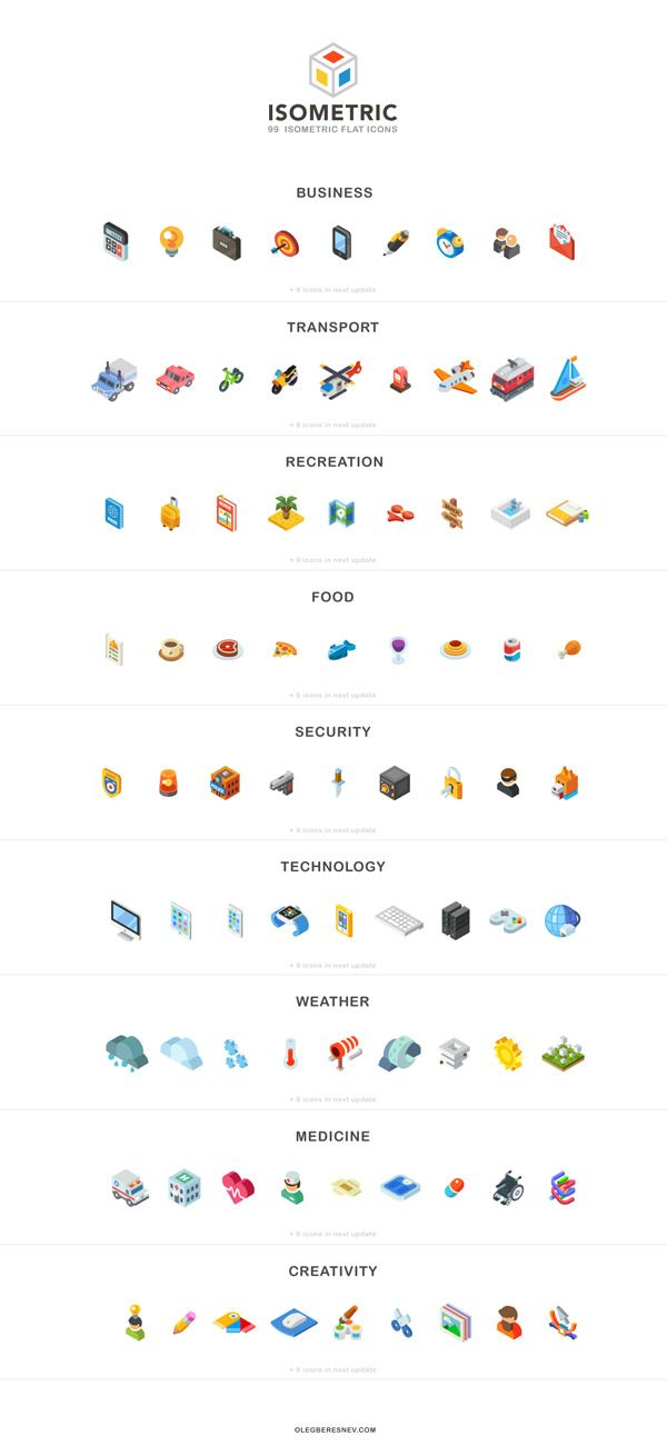 An isometric flat icon collection.
