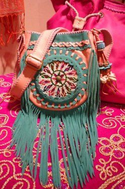 ☯☮ॐ American Hippie Bohemian Style ~ Turquoise and Peach Leather Fringe Boho Tribal Bag!