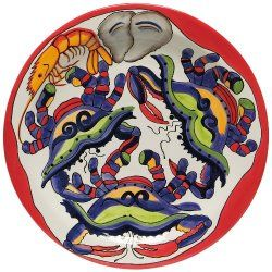 Round Serving Platter With Seafood Design - North Breeze