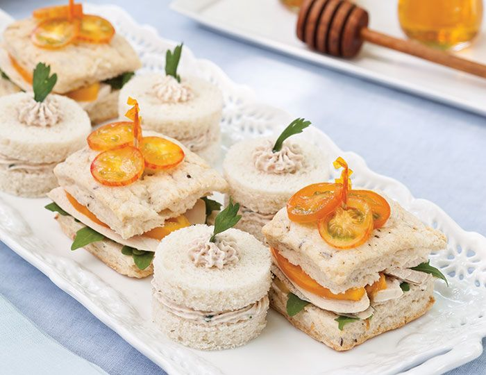 Swirls of honey-flavored ham mousse, piped onto bread rounds, make for an elegant tea sandwich in Ham Mousse Tea Sandwiches.