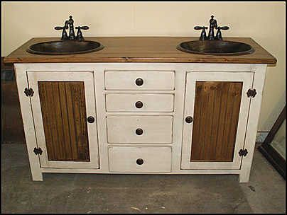 Country Pine Double Bathroom Vanity With Hammered Copper