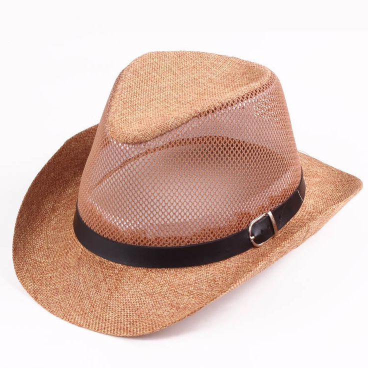 High-quality Men Hollow Out Mesh Top Hat Wide Brim Casual Braid Fedora Beach Sun Flax Panama Jazz Hat - NewChic