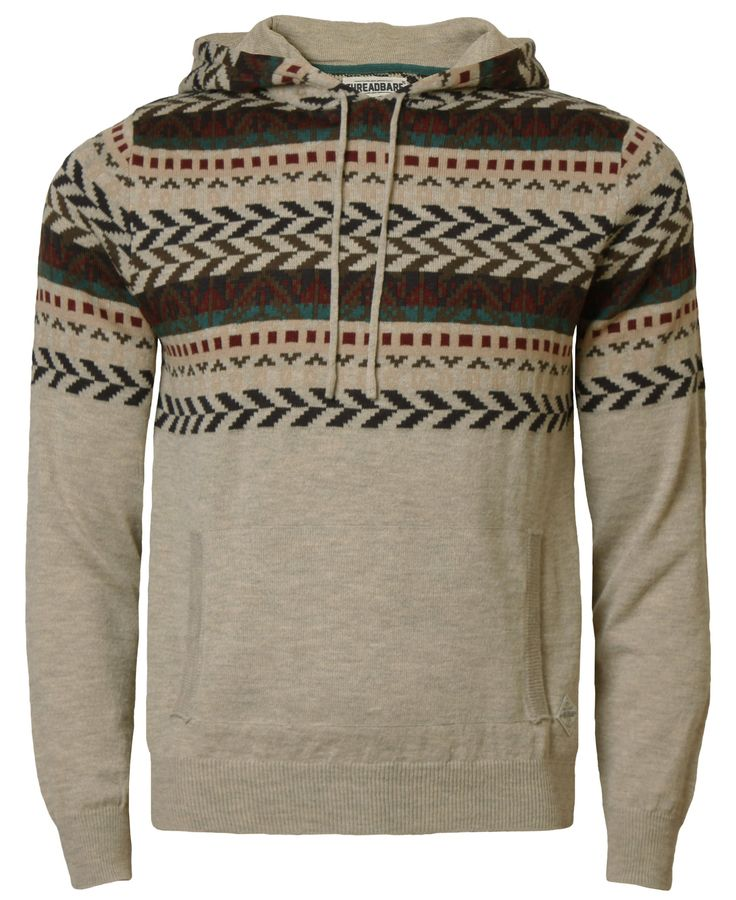 Threadbare Men's Jumper Knitted Hooded Sweater Aztec Pullover X-Large Calypso Stone