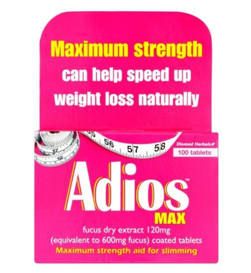 Adios Max 100 Tablets | Fucus Dry Extract Coated Tablets - Boots