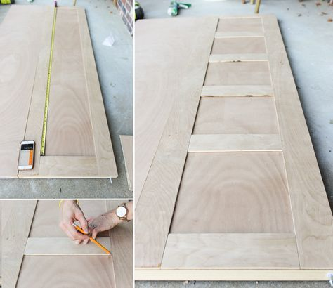 How to make craftsman style 5 panel closet doors using flush hollow core bi-fold doors, using only plywood. Perfect way to upgrade old, cheap doors.