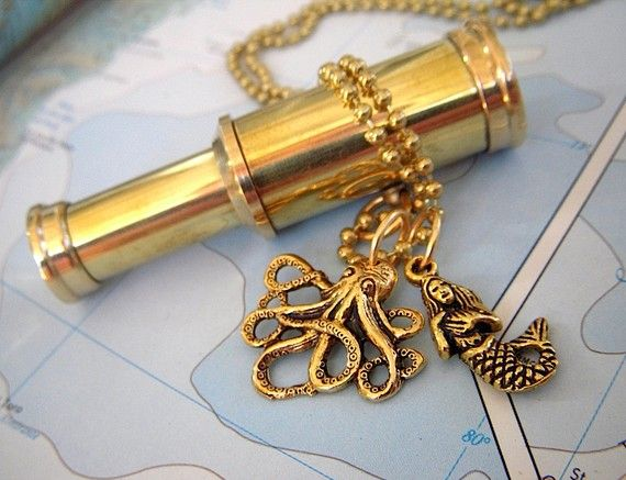 Steampunk Spyglass Necklace Octopus & Mermaid Vintage Style Brass Nautical Jewelry Working Spy Glass Telescope Rustic Antique Finish