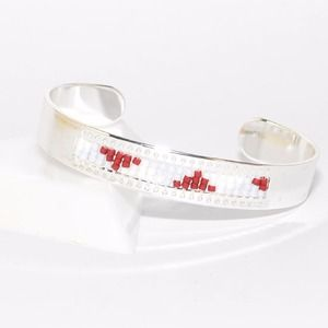 Bracelet jonc tissage miyuki rouge, bleu clair et blanc