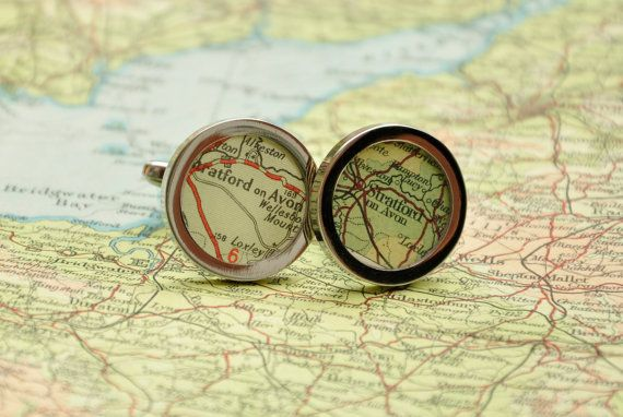 Personalised Vintage UK Map Cufflinks  Perfect for by miamiajewels