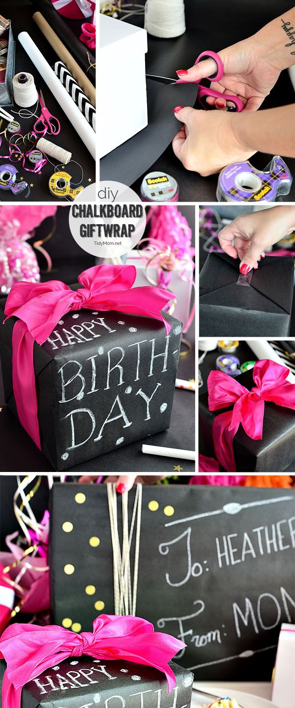 Such a fun inexpensive idea for gifting!! DIY Chalkboard Gift Wrap with Scotch Brand Wrapping Tape and TidyMom.net One roll of wrapping paper and no two gifts will look the same! Great for birthday, Christmas, Mother's Day, Father's Day....any holiday or gift.