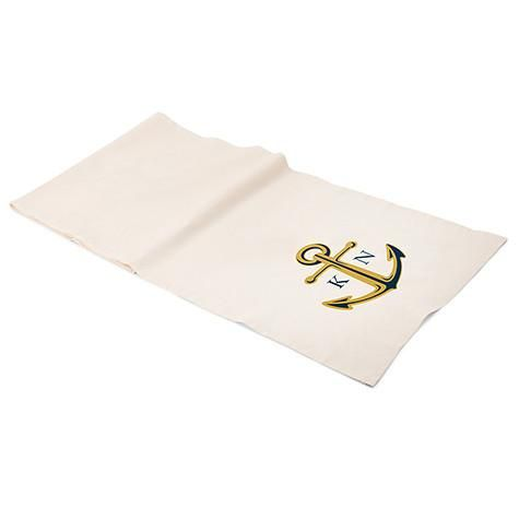 Nautical Anchor Personalized Off White Linen Table Runner