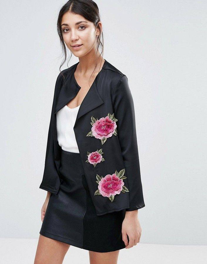 Jessica Wright Jacket With Floral Embroidery